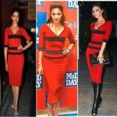 Wer trug roten und schwarzen Bleistiftkleid besser?
